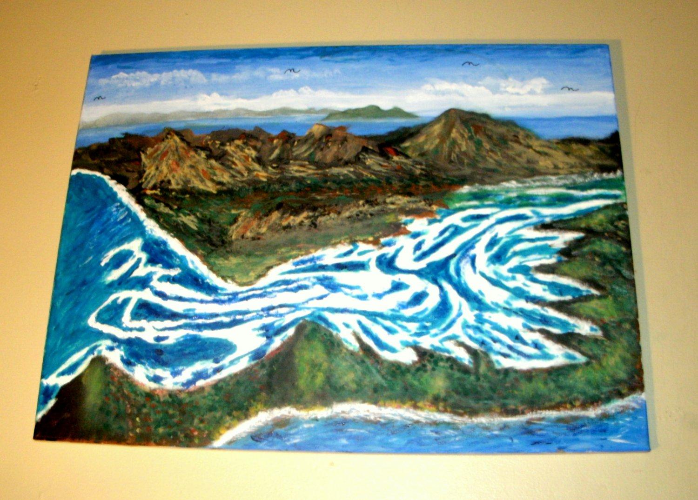 Blue & White Water/Whitehaven Beach, Australia /Acrylic/Original/New/