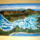 Blue & White Water/Whitehaven Beach, Australia /Acrylic/Original/New/