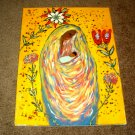 Black Modern Art/Afro American woman holding her Child/Acrylic/New/