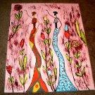 African Art/Two Women Dancing/Acrylic/New/