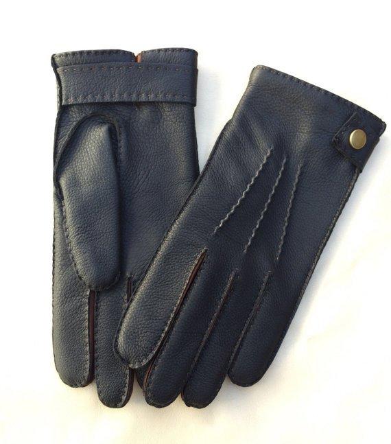 Men's Deerskin Leather Gloves Hand sewn Black deer skin Wool Lining Winter Deer-skin Size 8'' M