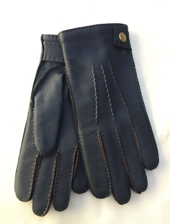 Men's Deerskin Winter Gloves Handsewn Black Brown deer-skin Driving Wool lining Size 9 inhces L