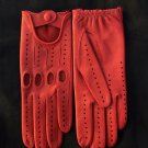 Ladies Driving Gloves Italian Lambskin unlined Red Sheepskin leather Women's Size 7,5 inches M