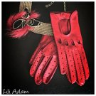 Driving Gloves For Ladies Italian Lambskin unlined Red Sheepskin leather Women's Size 7,5 inches M