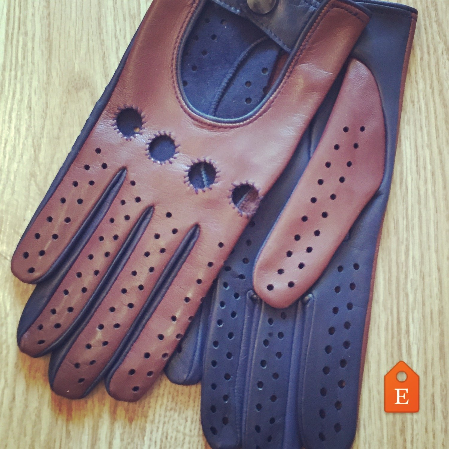 Driving Gloves For Men Italian lambskin Napa Blue and Brown Sheep-skin leather Size 7.5 inches M
