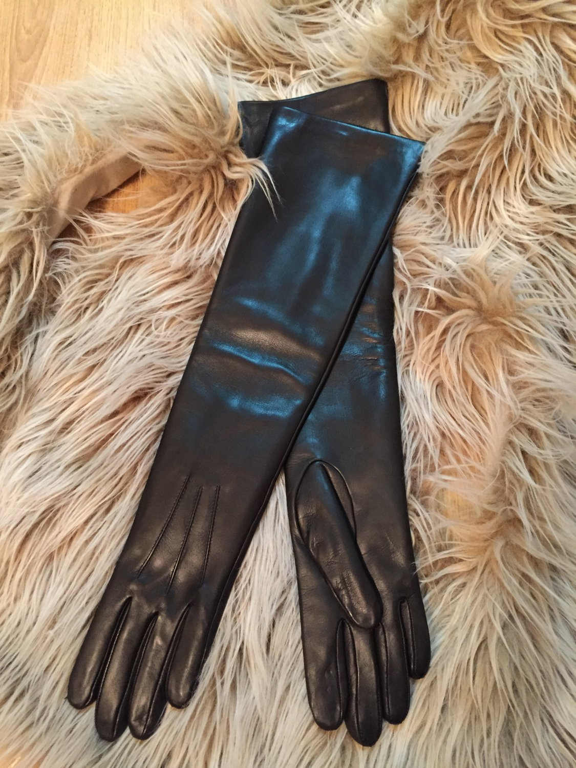 Long leather gloves, opera gloves, super soft 100% silk lining, dress gloves, 6,5 inches S