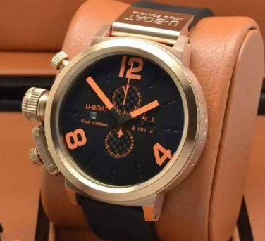 Men Watch U1215 Classico Chronograph 50mm Stainless Steel Color Black Orange