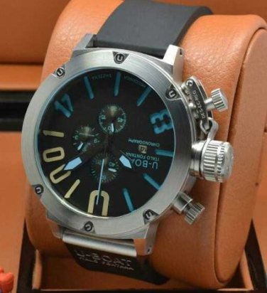 Men Watch U1001 Chronograph 50mm Stainless Steel Case Rubber Strap Dial Color Black Blue