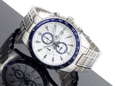 Casio Edifice EF-547D-7A2V Chronograph Stainless Steel Dial Color White  bezel blue