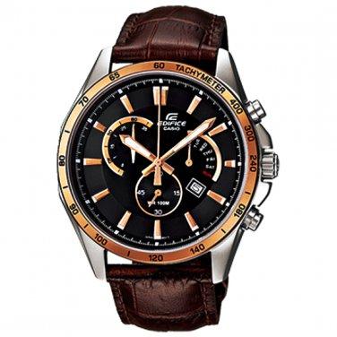 Men Watch Casio Edifice EFR-510L-5AV Chronograph Stainless Steel Leather Strap