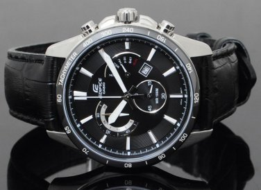Men Watch Casio Edifice EFR-510L-1AV Chronograph Stainless Steel Leather Strap Dial Black