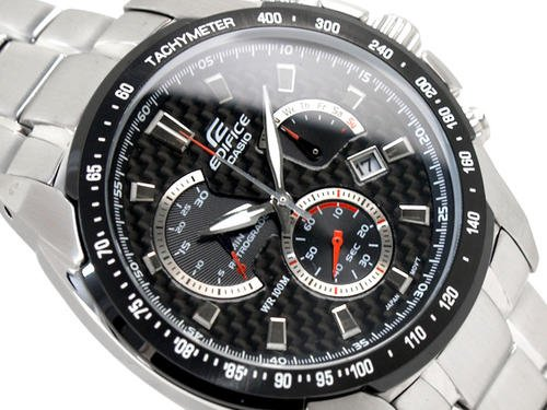 Casio Edifice EF-521D-1A Chronograph Stainless Steel Quartz Color Black 45mm