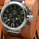 Men Watch U-Boat 1001 Silver Bezel Stainless Steel Case Leather Strap