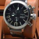 Men Watch U-Boat 1001 Silver Bezel Stainless Steel Case Leather Strap