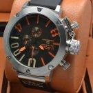 Men Watch U1001 Chronograph 50mm Stainless Steel Case Dial Color Black Orange