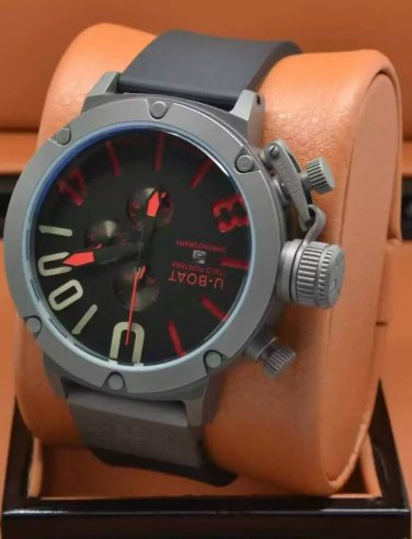 Men Watch U-Boat 1001 Chronograph Stainless Steel Case Color Black/Red