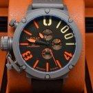 Men Watch U-Boat 1001 Chronograph Stainless Steel Case Color Black/Orange