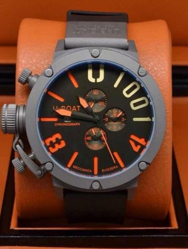 Men Watch U-Boat 1001 Chronograph Stainless Steel Case Color Black/Orange