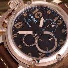 Men Watch U-Boat Italo Fontana Chronograph Stainless Steel Leather Strap