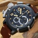 Men Watch U-BOAT Italo Fontana  Chronograph Stainless Steel Case 50mm Brown Leather Strap