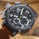 Men Watch U-BOAT Italo Fontana  Chronograph Stainless Steel Case Brown Leather Strap