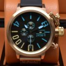 Men Watch U-Boat 1001 Chronograph Rubber Strap Black Blue Color 20mm