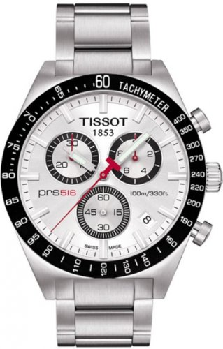 Men Watch Tissot T044.417.21.031.00  PRS516 Stainless Steel Chronograph Dial White