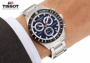 Men Watch Tissot T044.417.21.041.00 PRS516 Stainless Steel Chronograph Dial White