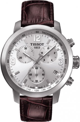 Men Watch Tissot T055.417.16.037.00 Chronograph Stainless Steel Case Leather Strap
