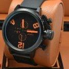 Men Watch U-Boat Chronograph Stainless Steel Case Rubber Strap Bezel Black