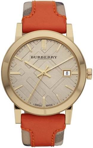 Women Watch Burberry BU9016 Large Check Leather Fabric Strap Size 38mm