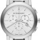 Women Watch Burberry BU9750 Chronograph Stainless Steel Size 38mm Color Silver