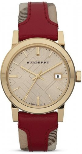 Women Watch Burberry BU9017 Large Check Red Leather Fabric Strap Size 38mm