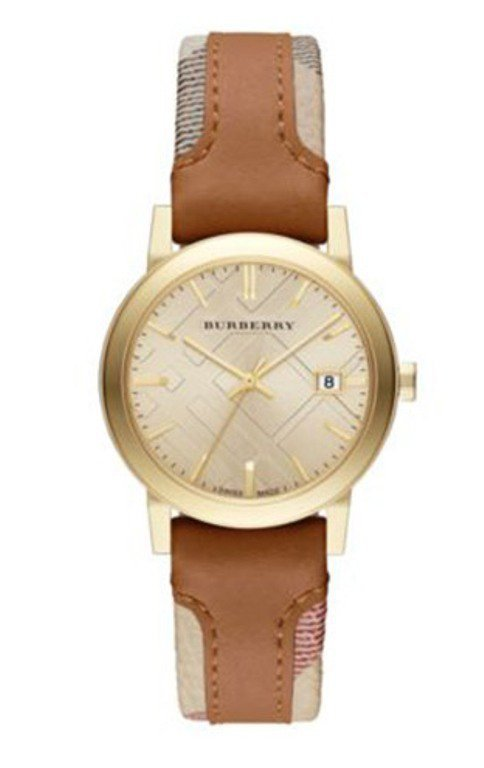 Women Watch Burberry The City BU9133 Leather Fabric Strap Size 34mm