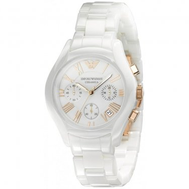 Women Watch Emporio Armani Ceramica AR1417 Chronnograph Dial 38mm White