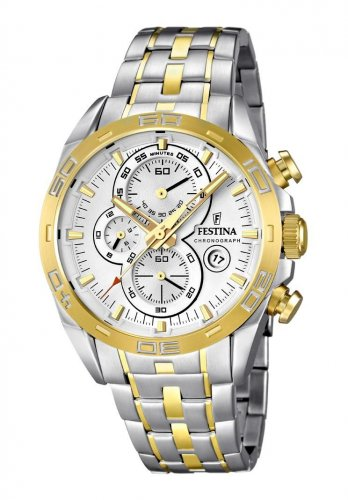 Festina  F16655/1 Men Watch Cheonograph Stainless Steel Dial Color White