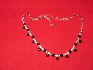 "Fashion Necklace with CZ and Black Onyx simulated stones, 18"" Adjustible"