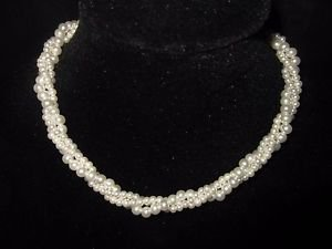 Graduating Faux Pearl Triple Strand Torsade 18� Necklace