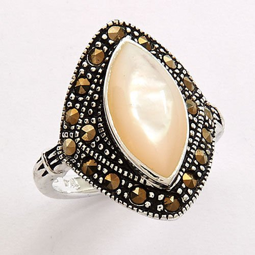 Fine Silver Mother of Pearl Marcasite Ring