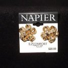 Napier Napier Gold Tone Ribbon Button Clip Earrings