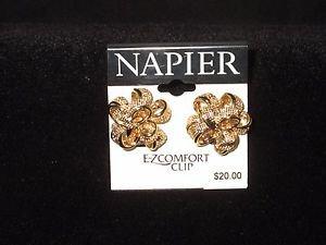 Napier Napier Gold Tone Ribbon Button Clip Earrings