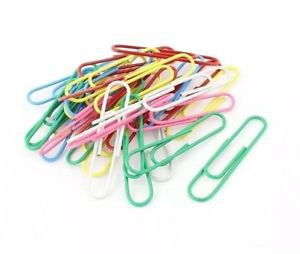 Plastic Coated 50mm Paper Clips Assorted Color 30pcs
