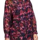 Women's Ava & Viv Plus Size Printed Button Front Tunic, Black Cherry Floral, 2X