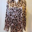 Chico's Women's Size 2 Button Down Front Blouse Long Sleeve Animal Print