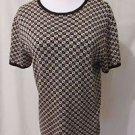 Talbots Women's  Medium Pullover Knit Short Sleeve Shirt Black With Diamonds