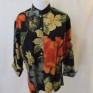Chico's Design Floral Blouse Shirt Women's 1 (M) Mandarin Collar 3/4 Sleeves