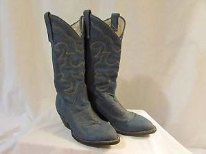 Vintage Women's 7 1/2  Denim Cowgirl Boots Made In Mexico