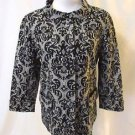 Talbots Stand Up Collar Jacket Women's 8 Black & White brocade Design 3/4 Sleeve