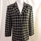 Talbots Petite Coat Jacket Women's Size 10 Wool Black & White Plaid Design Lined