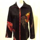 Chico's Patchwork Jacket Coat Women's 0 (Small/4) Black Tapestry Lined Zipper